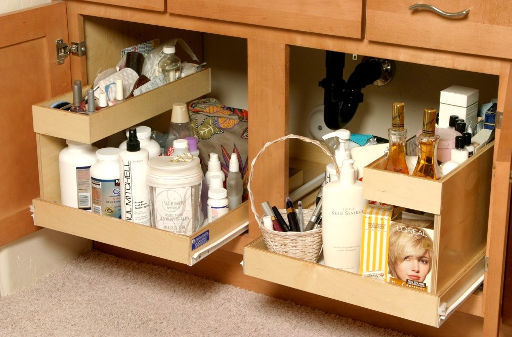 Pull out shelves kitchen pantry cabinets bravo resurfacing Bathroom cabinet organizers pull out